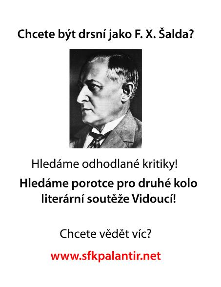 motivační plakát na veřejné hodnocení do  literární soutěže Vidoucí varianta s Šaldou