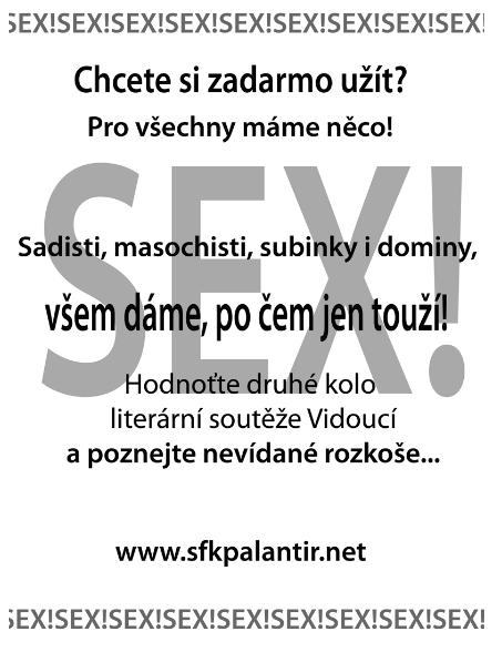 motivační plakát na veřejné hodnocení do  literární soutěže Vidoucí varianta se sexem